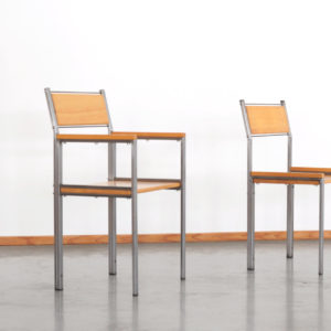 1993 Unique pair of chairs by Gerard Kuijpers, 1993 Steel & wood